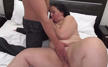 Big mother kiss suck and fuck young son