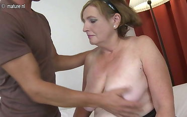Granny fucked by young boy doggy style
