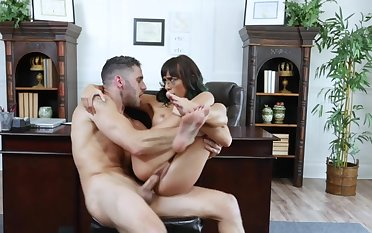 Secretary leads boss deep down her needy pussy