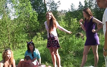 Albina & Ava & Taylor & Zoe in cute college girls making an outdoor party