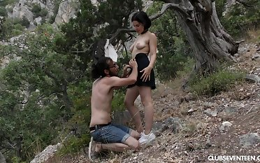 Ole Nina spreads her wings increased by gets her hairy cunt fucked outdoors