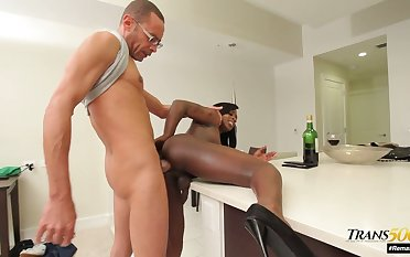Ebony shemale Dimples takes huge black cock in all directions analhole and deep throat