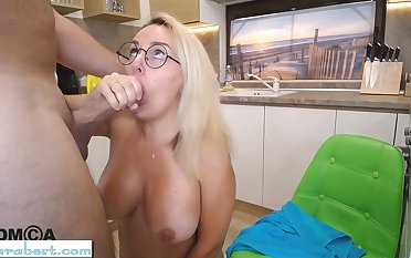 Blonde big tits cheating wife does blowjob on webcam
