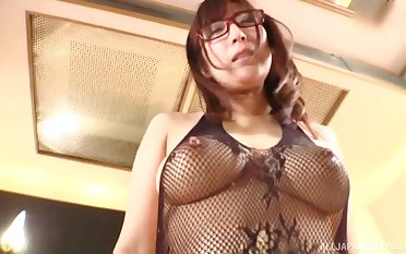 Asian MILF in glasses and lingerie gets a hardcore doggy style fuck