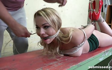 Submissive blonde, brutal and merciless BDSM carnal knowledge