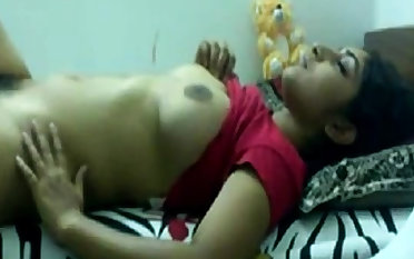 Desi teen playing nearby herself on webcam