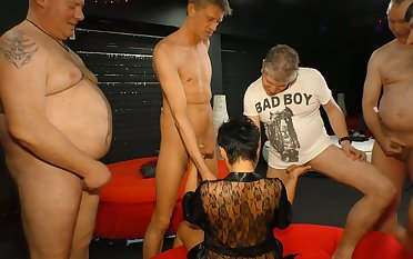 Aged experienced prostitute is fucked hard off out of one's mind several kinky dudes